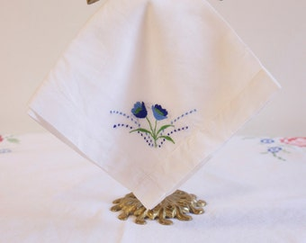 Vintage White Handkerchief embroidered with blue flowers Wedding hankie