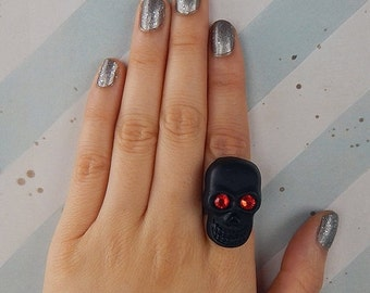 50% OFF SALE Black and Red Giant Sparkle Skull Ring
