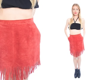 80s Red Suede Leather skirt