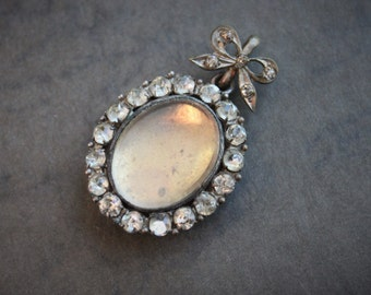 Georgian French Paste Open Faced Locket with Paste Bow / Antique Glazed Memorial Locket / Victorian Wedding Locket