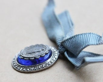 Antique Our Lady of Grace Medal in Sterling Sapphire Glass and Marcasite / Antique Religious Miraculous Medal and Ribbon