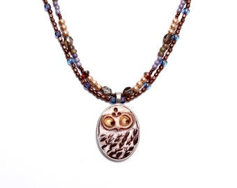 Motley Owl, Double Strand, Beaded Art Bead, Nature Lovers, Choker Necklace