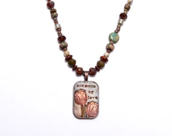 Nature Inspiration.. Handmade Art Bead Pendant, Floral, Picasso, Asymmetrical, Beaded Necklace,babnn40