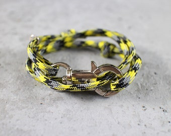 Cord Tiga - yellow black rimau paracord cord wrap bracelet with silver metal clasp, unisex, adjustable size, limited edition