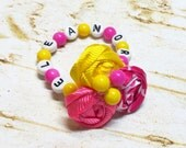 Rosettes Bracelet or Anklet, Newborn Baby Beaded Customized Child's Name, Fabric Flower photo prop, baby shower gift Hot Pink Bright Yellow