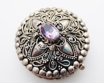 Sterling Silver Amethyst Ornate Keepsake Handcrafted Circle Box
