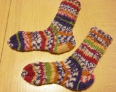 Handknitted Baby Socks 6 - 12 month in a Mix of Brown - Blue - Purple