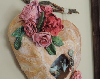 Heart Wall Decor, Shabby Style, Wall Art, Mache Heart, Original Art, Roses and birds, Wedding Gift, Mixed Media art