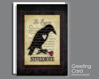 The Raven Card, macabre love, goth love, romantic card, literature card, Edgar Allan Poe, Nevermore, broken heart, lost love, goth Valentine