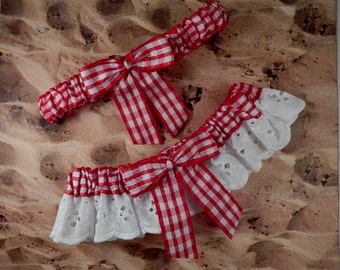 Red Gingham White Eyelet Lace  Wedding Garter Toss Set