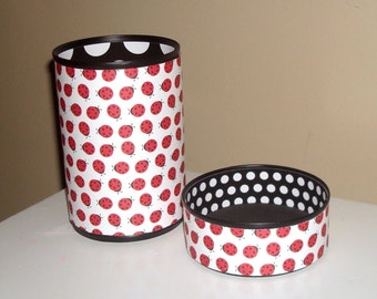 Lady Bug Desk Accessories / Red Black White Pencil Holder / Pencil Cup / Office Desk Organizer / Lady Bug Decor - 883