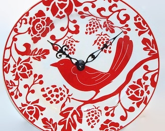 Red Bird Wall Clock - Red and White Home Decor - Unique Wall Decor - Plate Clock - Kitchen Clock - 2107