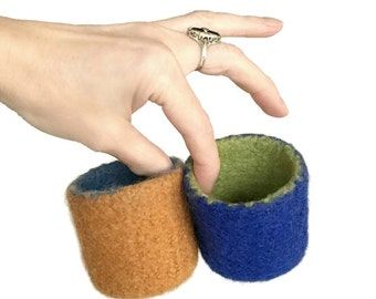Felt Ring Bowl Felted Color Block Knitted Container Blue Green Orange Best Friend Hostess Bridesmaid Gift Idea