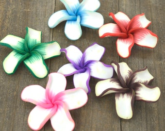 Flower Beads, White Flowers, 10 pcs, 45mm,  Polymer Clay Pendants,  Fimo, Mixed Colors -B122