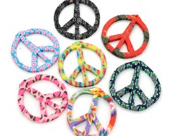 Fimo Peace Pendant, 10pcs, 40mm, Polymer Clay Pendant, Peace and Love -B478