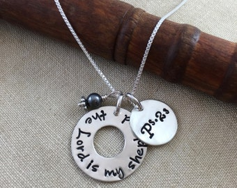 The Lord is my Shepherd Hand Stamped Necklace - Psalm 23 - Bible verse necklace
