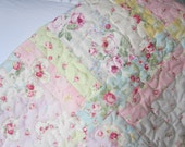 SUPER GIRLY QUILT Handmade Shabby Chic Princess Rose and Lecien Floral Collection Fabrics