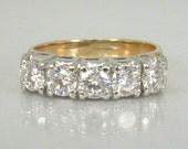 Vintage Diamond Wedding Ring - Five Diamond 1.00 Carat - Appraisal Included