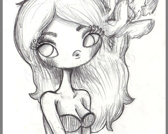 Day #159 - Freedom - Kawaii Butterfly girl original sketch a day drawing! 5.5 x 8.5