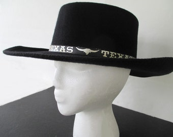 ALAMO COWBOY HAT * Black with Texas Band * Horseshoe Medallion * Size 6 7/8