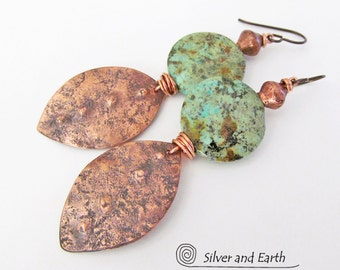 African Turquoise Earrings, Copper Leaf Earrings, Natural Stone Earrings, Handmade Metalwork Jewelry, Earthy Boho Chic Bohemian Jewelry