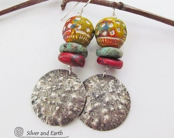Sterling Silver Tribal Earrings, Handmade Artisan Silver Jewelry, Coral & Turquoise Earrings, Exotic Boho Chic Ethnic African Tribal Jewelry