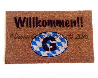 FLAG German door mat Willkommen-  welcome in