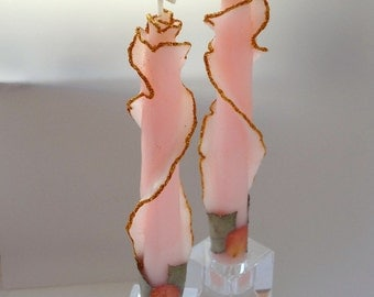 Unique Taper Candles, Set of 2, You Pick Size & Color, Decorative Candles, Rose Candles, Glitter Taper Candle, Birthday Gift, Housewarming