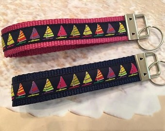 Key Wristlet With Sailboats, Choice of Webbing Color