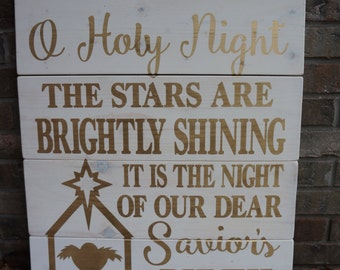 ON SALE In Stock and Ready to Ship Oh Holy Night Large Rustic Christmas Sign Decoration: You choose colors