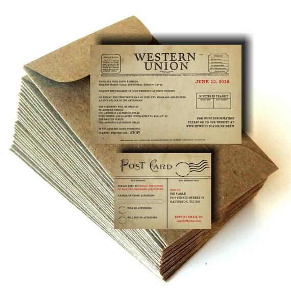 Telegram Telegraph Vintage Wedding Invitations By