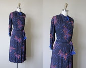 40s Dress - Vintage 1940s Dress - Navy Cobalt Coral Chocolate Rayon Deco Wheat Print Draped Dress L - Old Flame Dress
