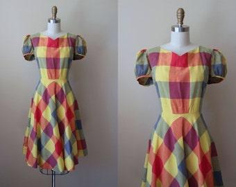 1940s Dress - Vintage 40s Dress - Vivid Plaid Cotton Puff Sleeve Dress L - Market Day Dress