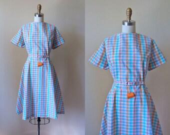1960s Dress - Vintage 60s Dress - Curvy Deadstock Plaid Princess Seam Cotton Full Skirt Day Dress XL XXL - Leap Day Dress