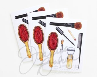 SALE! Beauty Brushes Illustrated Folded Note Cards / Makeup Illustration, Beauty Stationery, Makeup Note Card, Fashion Note Card