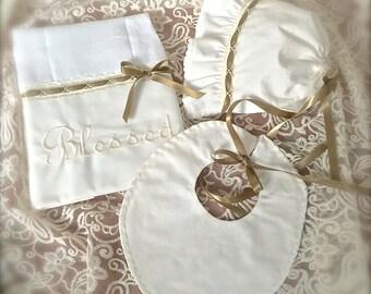 Shower Gift Set Ivory Antique Gold Baby Bonnet Monogrammed  Diaper Pad and Bib Decorative Stitching Ribbon