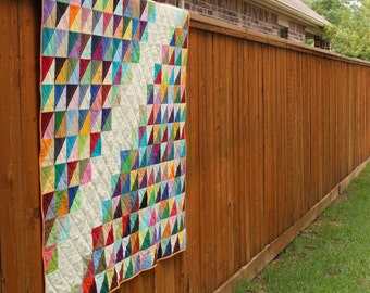 Rainbow Triangle Quilt in Solid Colors by Kona Cotton Lap Throw