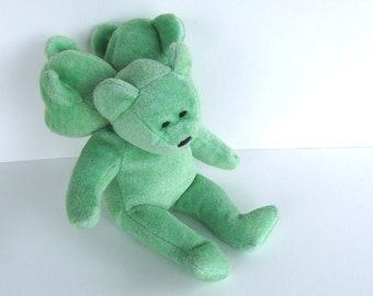 Green Cerbearus, Cerberus 3 headed bear recycled stuffed toy monster