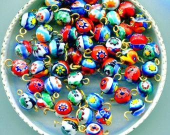 Murano Moretti Millefiori size 7/8mm Venetian Art Glass Beads, Wired,MB8. MB8W*