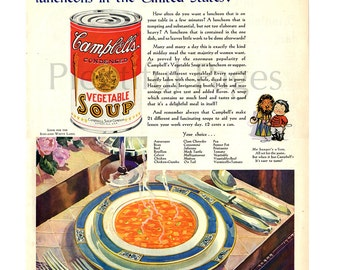 1931 Campbell's Soup Vintage Ad, Advertising Art, Vintage Illustration, 1930's Table Setting, Vegetable Soup, 1930's Decor, Great to Frame.