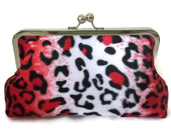Leopard Clutch Purse, Animal Print Clutch, bridesmaid clutch purse, black and white and red  clutch, faux fur clutch