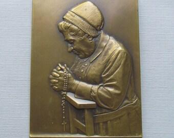 French Antique Bronze Religious Art Medal Le Chapelet Signed Georges PRUD HOMME Paris Mint Circa 1930