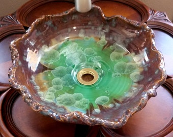 "READY TO SHIP Organic Undulating Shallow Handmade Purple Green Gold Blue Crystalline Glazed Porcelain Vessel Sink 13/14""  Diameter"