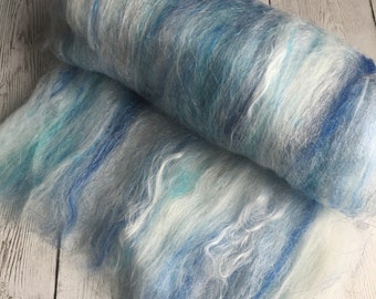 Fiber art batt spinning felting roving top Baby Alpaca/Merino/Bamboo/ Lots of Sparkle ICE - (SMOOTH)  - 2.0 oz - 2014