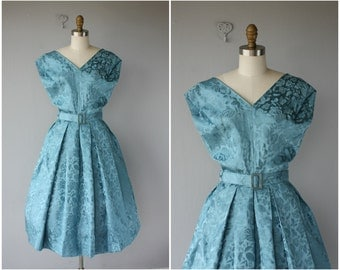1950s Cocktail Dress | 50s Party Dress | 50s Silk Brocade Dress | 1950s Dress | 50s Dress | Blue Floral Dress | 1950s Party Dress