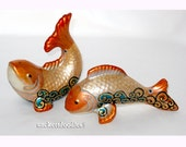 Salt Pepper Shakers Hand Painted Redfish Cake Toppers, Serveware Table Top Decor