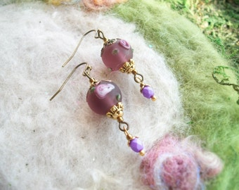 Bead Earrings, Frosted Purple Lamp Work Bead with Orchid Dangle