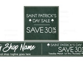 Etsy Banners - Etsy Shop Banners - St Patricks Day Etsy Banners - Saint Patrick's Day Etsy Sale 2 - 2 Piece Set