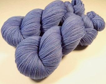 Hand Dyed Lace Yarn - Lace Weight Superwash Merino Wool Yarn - Delphinium - Knitting Yarn, Periwinkle Blue, Black Sheep Dyeworks