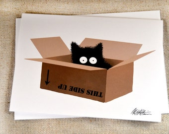 Black Cat in Box Greeting Card - Sammy Finds a Box Illustration